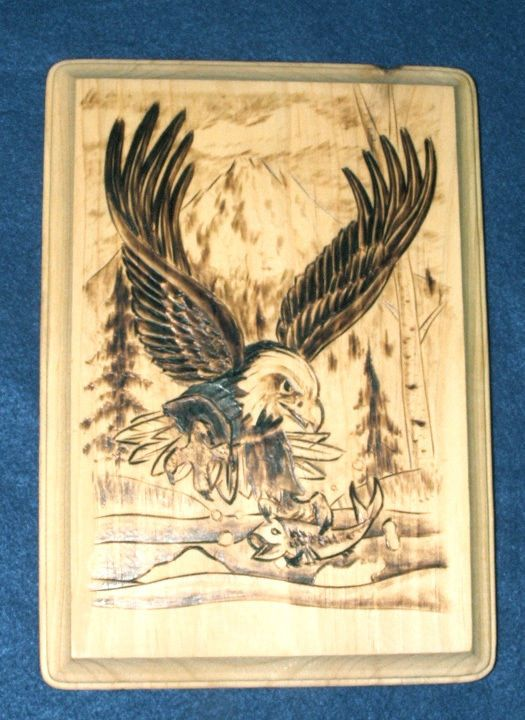 Authentic Native American Woodburning Art Fishing Eagle 6.5x9\