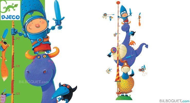 Stickers Toise Chevalier fantastique Little Big Room by Djeco - Chambre Arthur