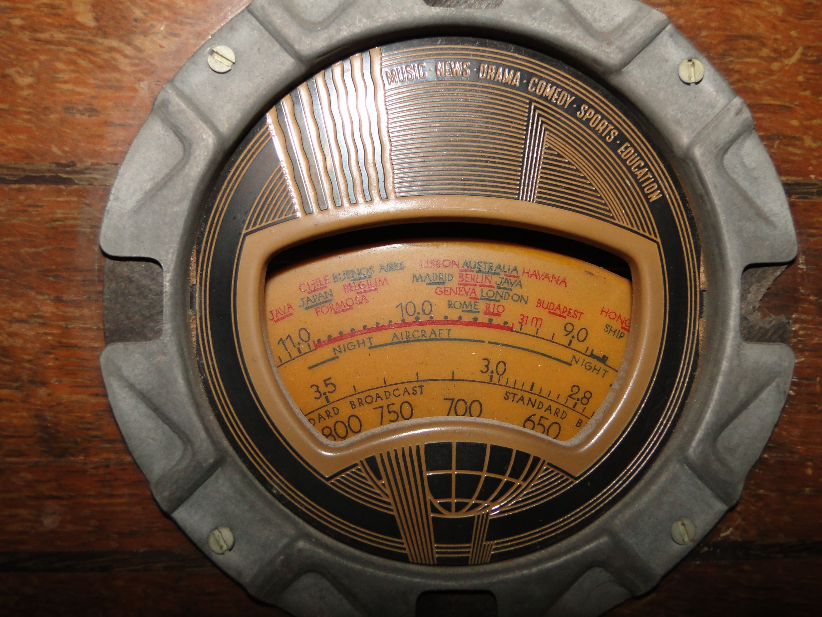 Radio Receiver Tuning Dial From A 1937 Philco Model 37 610