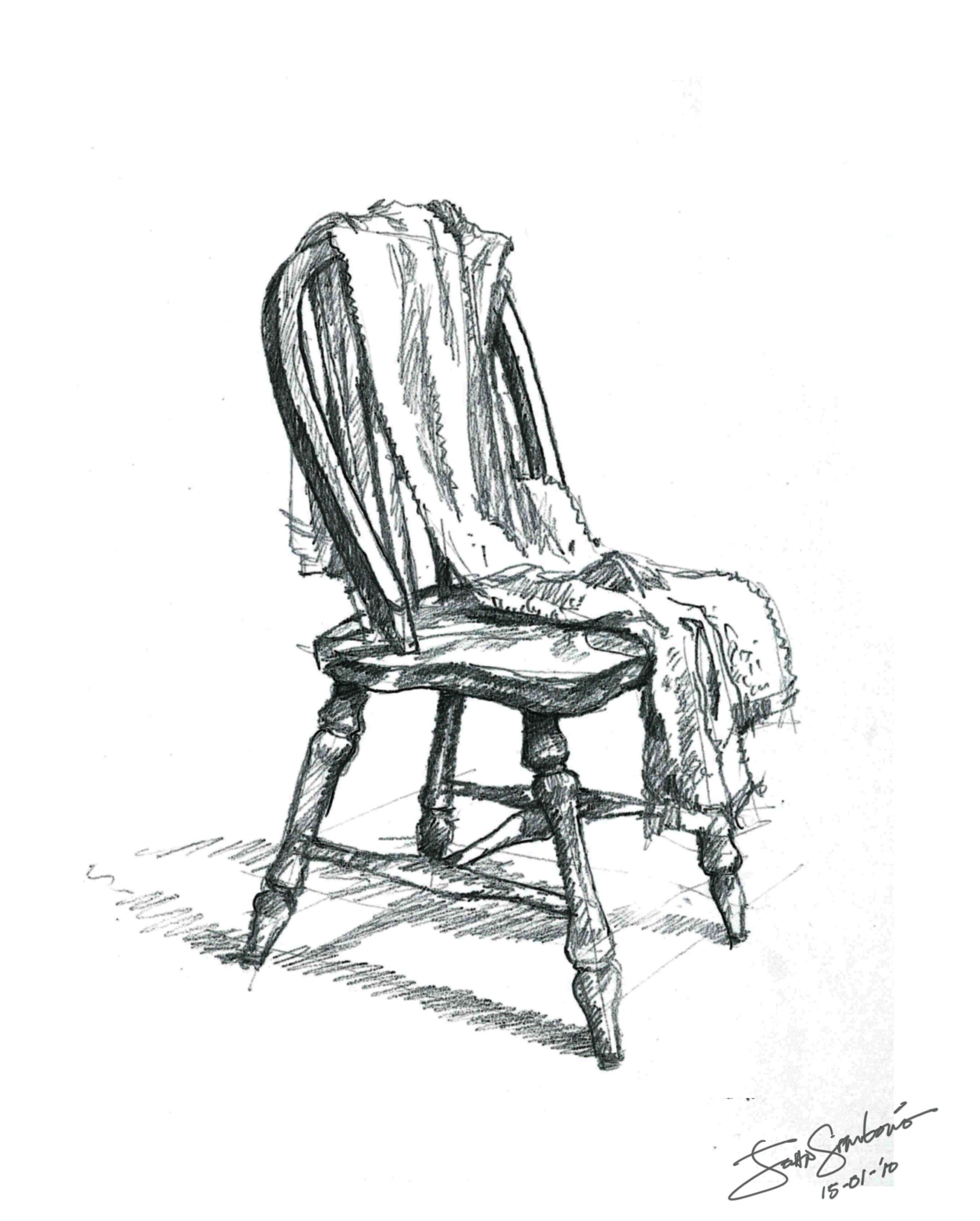 Pin By Alu Fontao On H In 2020 Chair Drawing Wooden Chair Charcoal Sketch