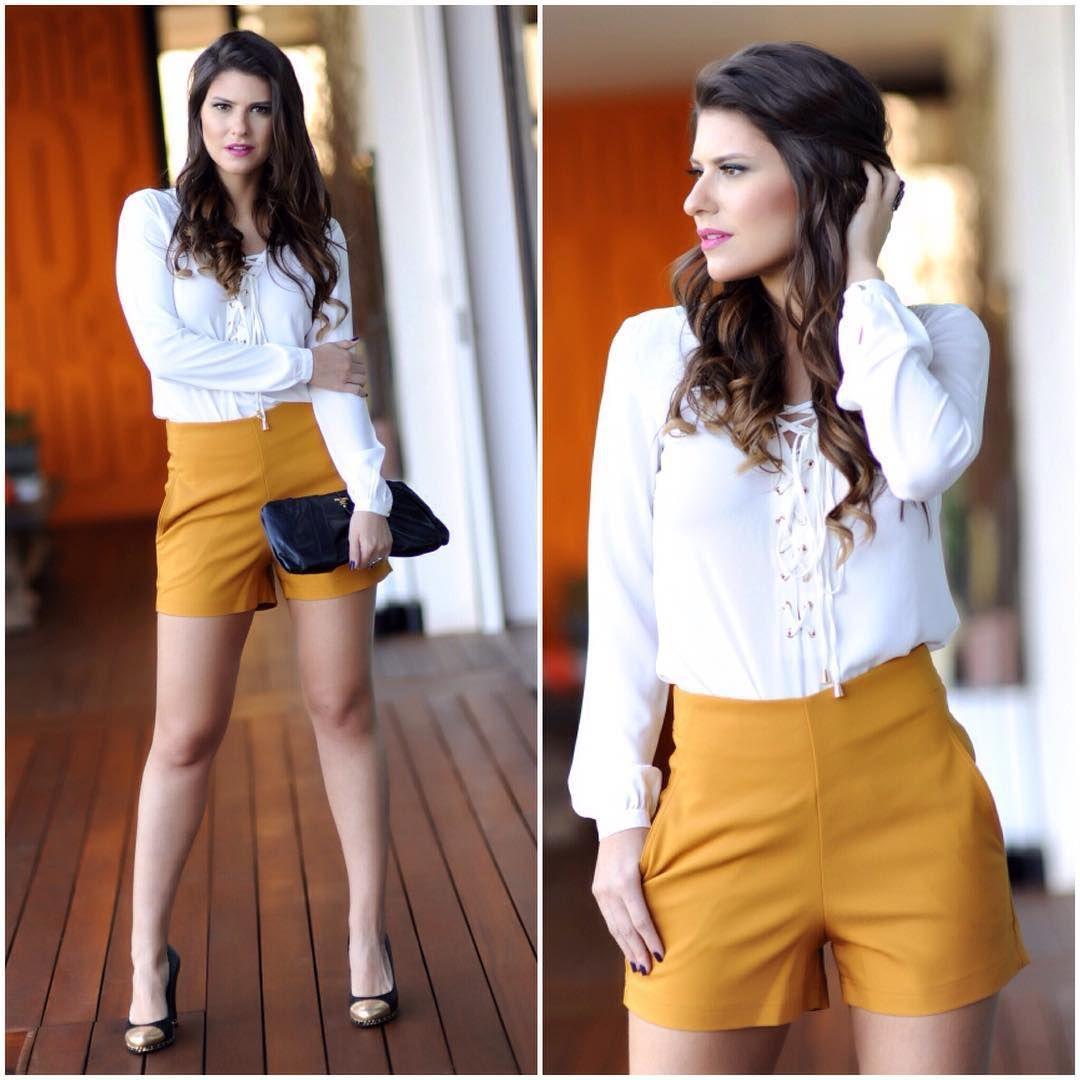 Inspiração   short cintura alta   blusa com ilhós    murauplanteamor ... fbbf78b59e