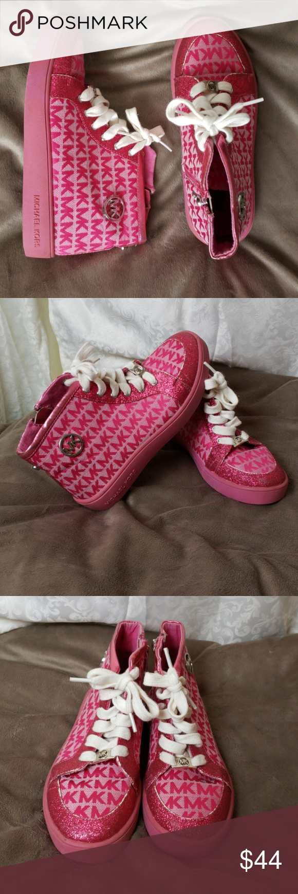 69b22310d3 Michael Kors Sparkly Fuschia High Tops for Girls Beautiful hot pink high  tops by Michael Kors. White laces and emblem on sides of each shoe.