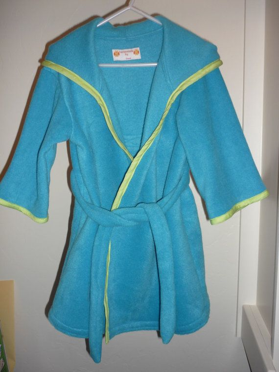 Aqua Toddler Robe Trimmed with Lime Green by HandmadeByGraceB, $20.00