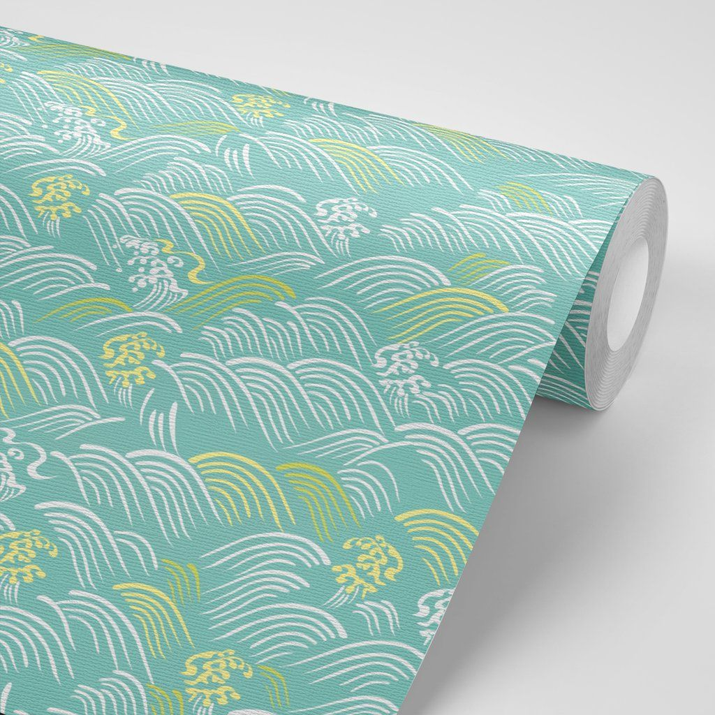 Japanese Style Waves W1169 Peel, stick wallpaper