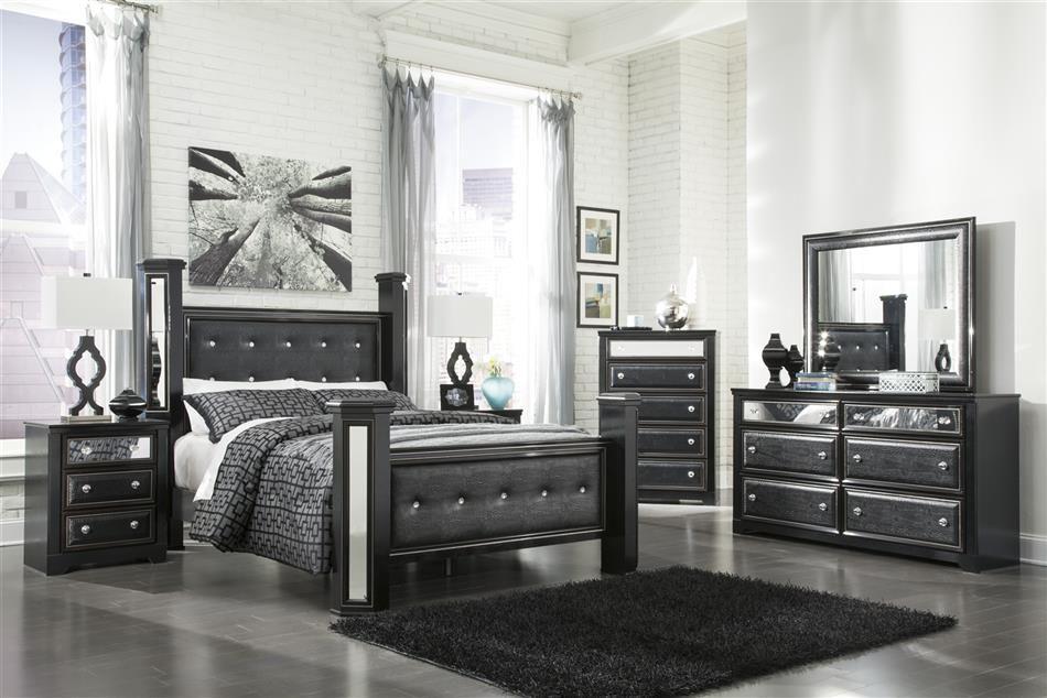 King Master Bedroom Sets   BLACK Faux Leather