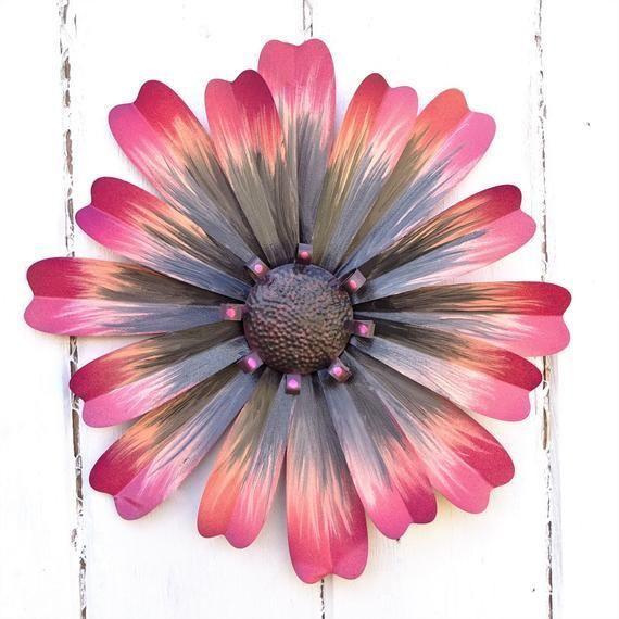 Pink Metal Flower Wall Decor Metal Wall Flowers Flower Wall