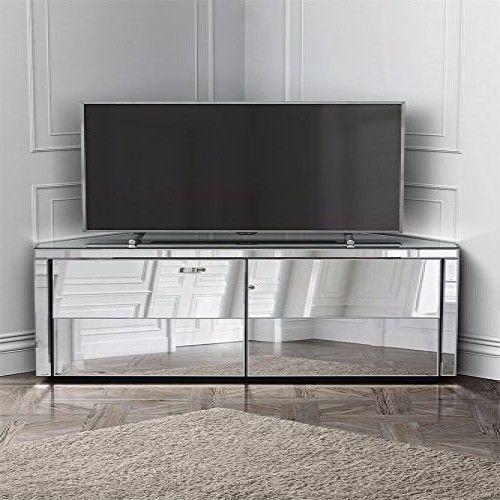 Mirrored Corner Tv Cabinet Entertainment Unit Contemporary Drawer Furniture Gift Ebay