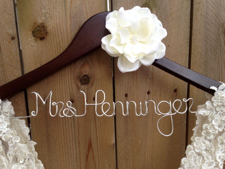 Mrs Bride Hanger with Silver Wire Wedding Dress Hanger Dark Wood