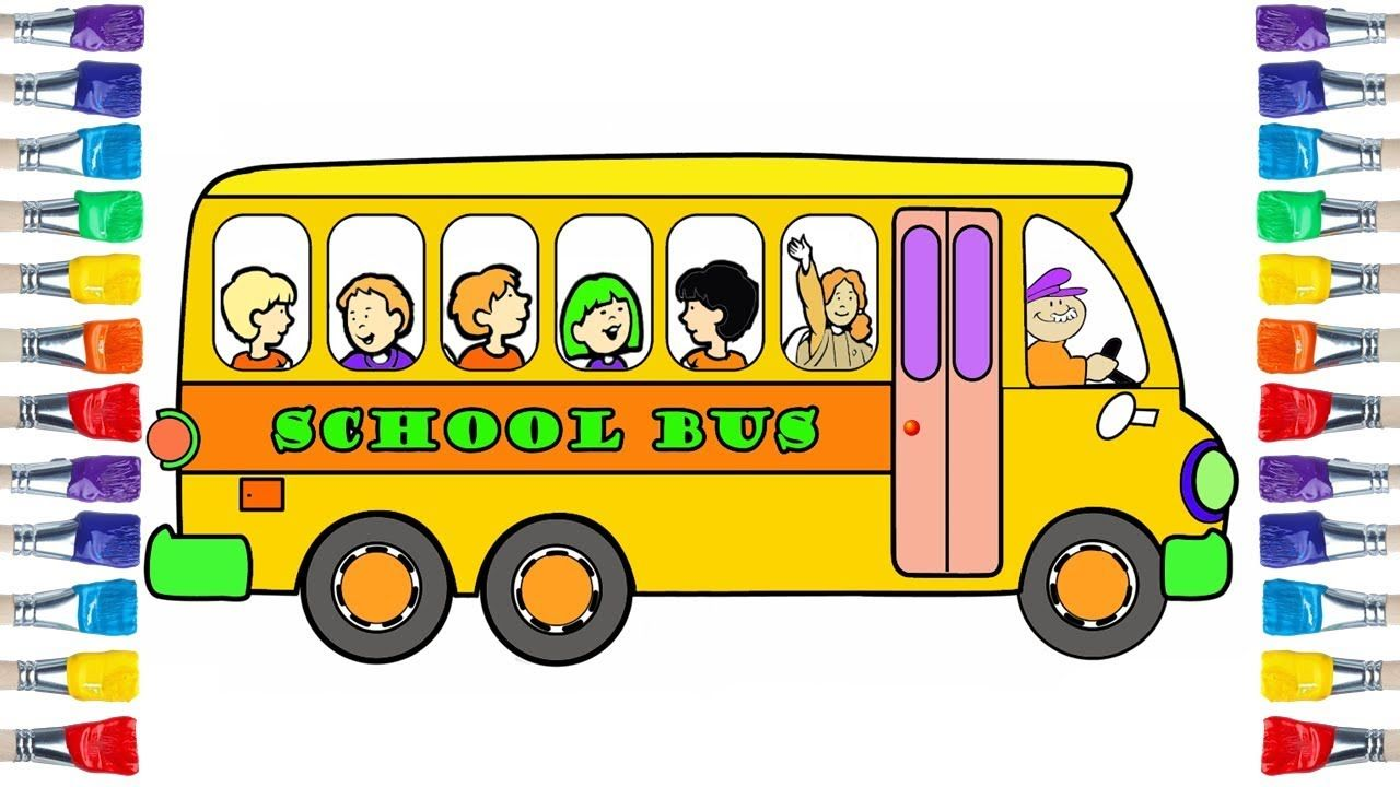 How To Draw School Bus Easy Draw And Colour For Kids Animation Schools Coloring For Kids Drawings