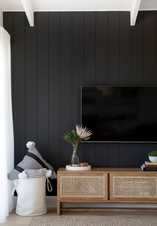 Hide The Tv On A Dark Wall Living Room Tv Wall Living Room Tv Black Walls