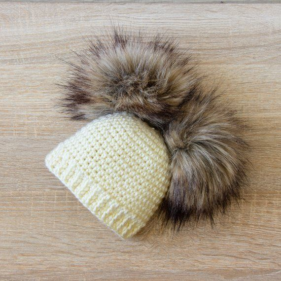Double pom pom hat and booties - Cream Booties and hat set - Crochet ... 646e0690c4ba