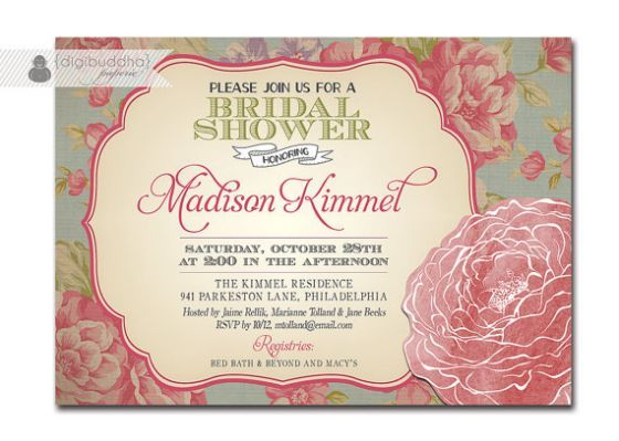 Bridal shower invitation vintage christinas shower pinterest bridal shower invitation vintage rose rustic floral shabby chic invitation typography poster printable digital or printed madison style filmwisefo Image collections