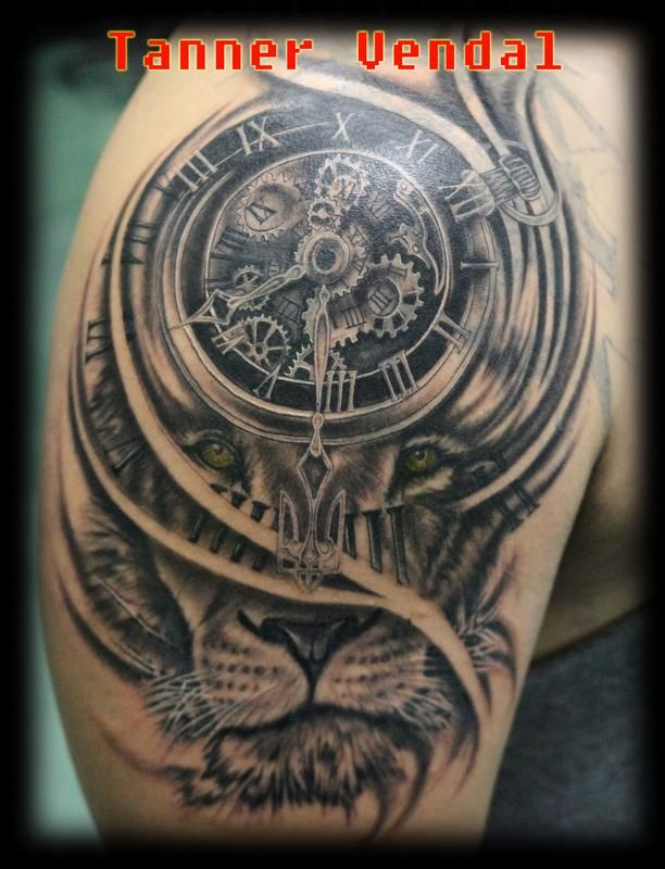 Lion Morph Tattoo: Lion_Clock_Black&Grey_Tanner By Tanner Vendal