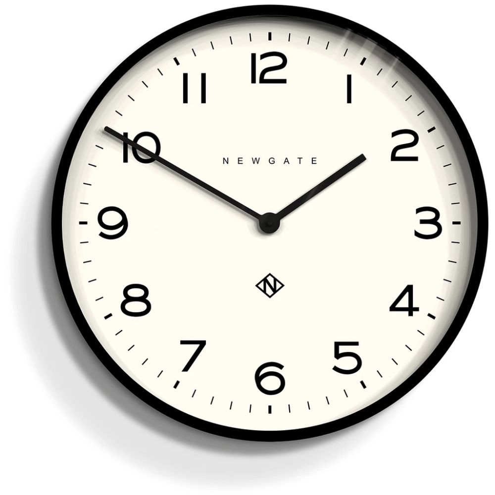 Number One Echo Clock In Black Design By Newgate In 2020 Clock Wall Clock Wall Clock Modern