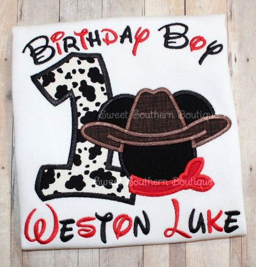 Nail Cake Blue Black Splodges Cow Print: Happy Birthday Embroidered Shirt First One 1 2 3 4 5 6 7 8