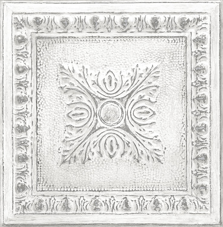 Nuwallpaper Nu2495 Reclaimed Tin Peel Stick Wallpaper White Off White Amazon Com Peel And Stick Wallpaper Nuwallpaper Wallpaper Samples