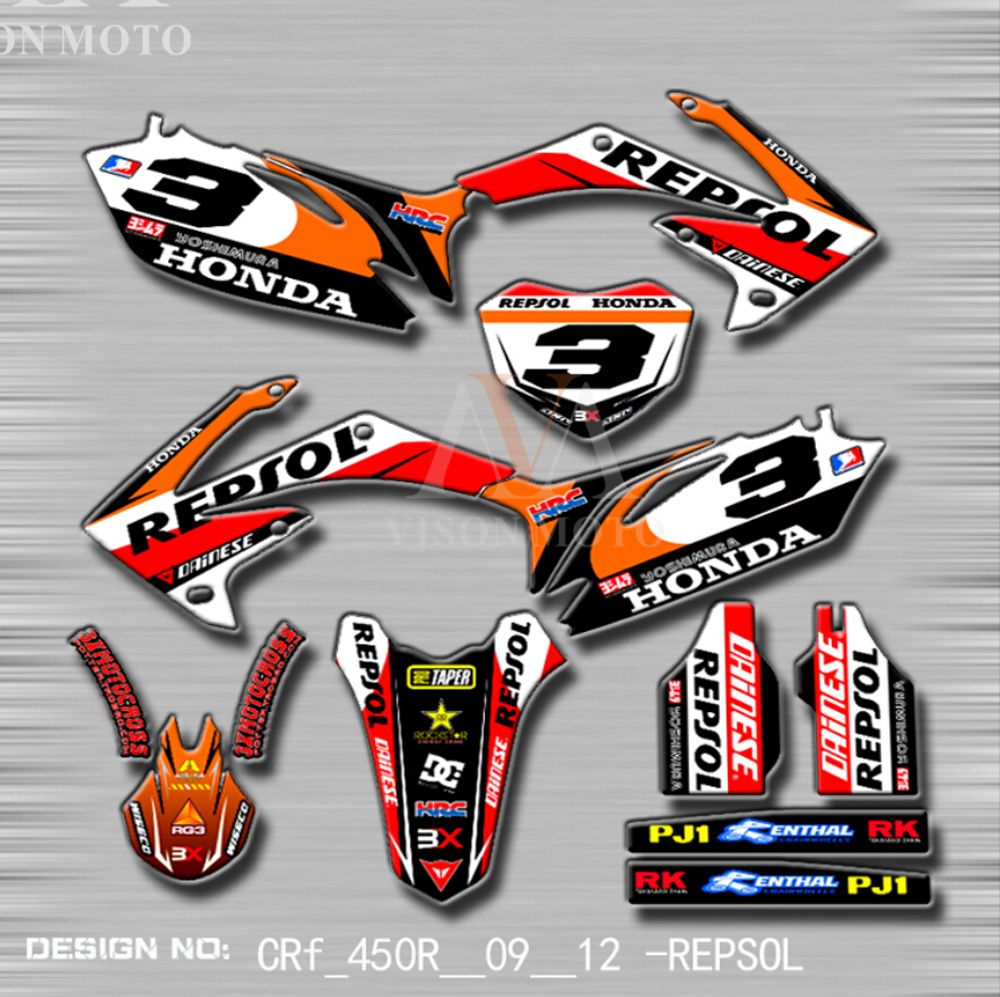 TEAM GRAPHICS BACKGROUNDS DECALS STICKERS For HONDA CRF250 CRF250R 2008 09 D4