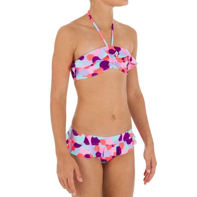 Kinder #OLAIAN #BikiniSet #Bandeau #Volant #Camo #Pink
