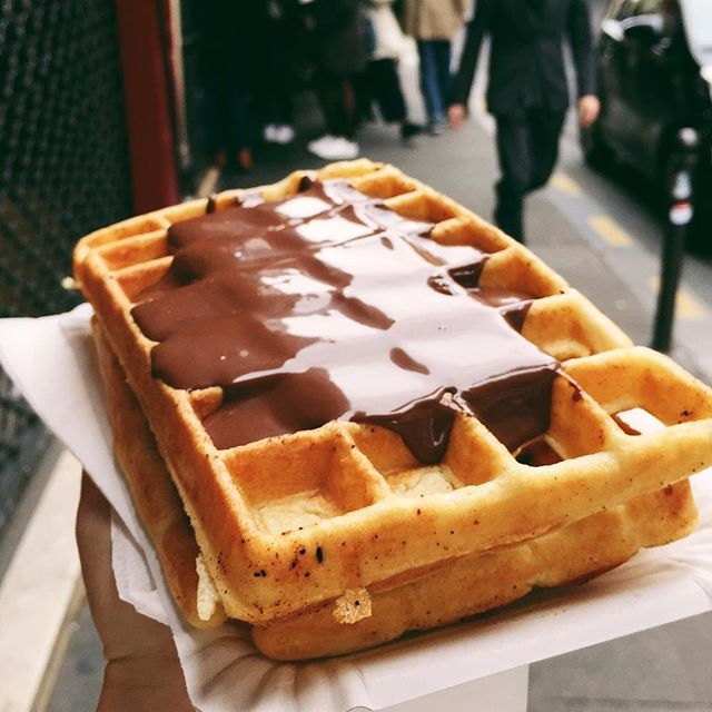 Good morning, #Paris. Starting my day with my gaufre (waffle) game on point.  #kitchyinparis