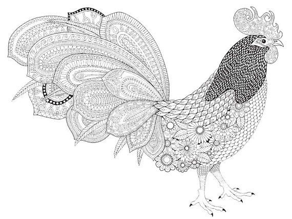 Adult Coloring Pages: Rooster 2 | Coloring pages, Doodle ...