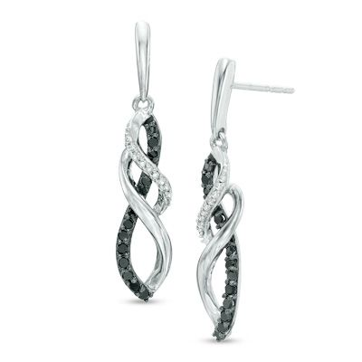 Zales 1/5 CT. T.w. Enhanced Blue and White Diamond Layered Infinity Drop Earrings in 10K Rose Gold uprz0Dk