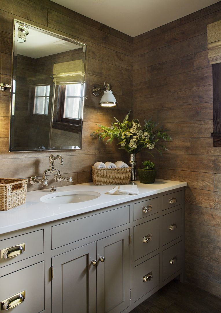 Kings Lane Farmhouse, Faux wood tile, gray cabinets, ralph ... on Rustic Farmhouse Bathroom Tile  id=15052