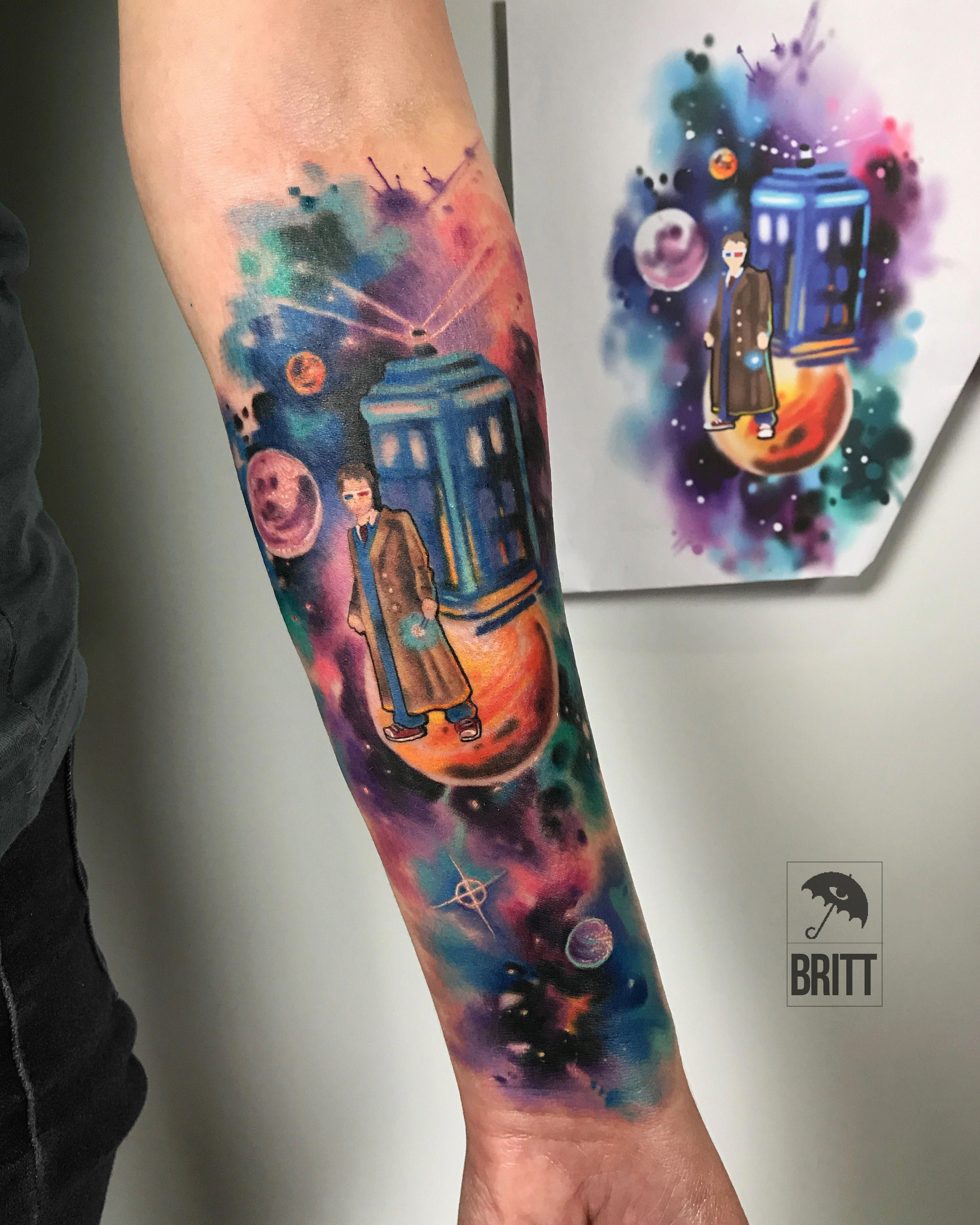 Dr Who Dr Who Tattoo Scifi Tardis Color Tattoo Watercolor