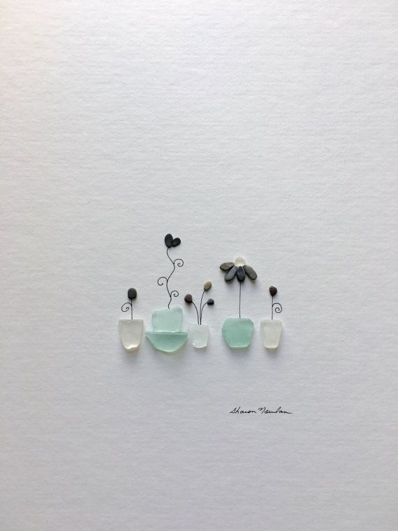 Pebble Art And Sea Glass Flower Pot Artwork By Sharon By