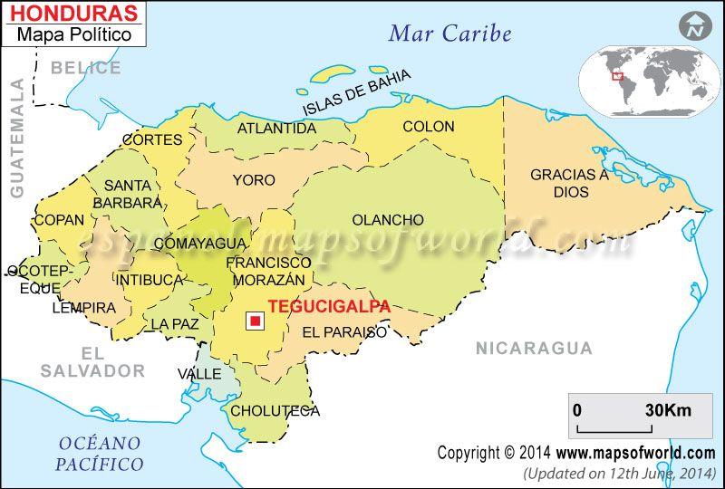 Departamentos De Honduras Mapa De Honduras Con Sus Departamentos