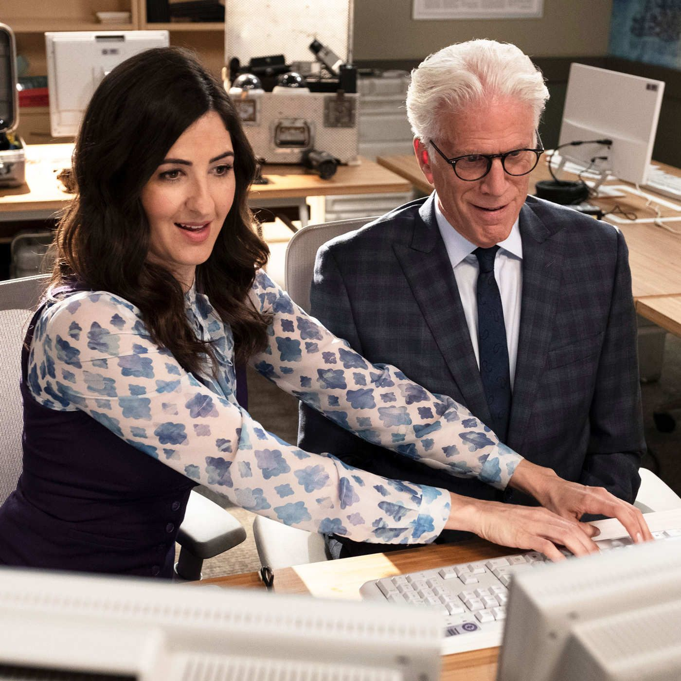 DuArcy Carden and Ted Danson in The Good Place The Good Place in