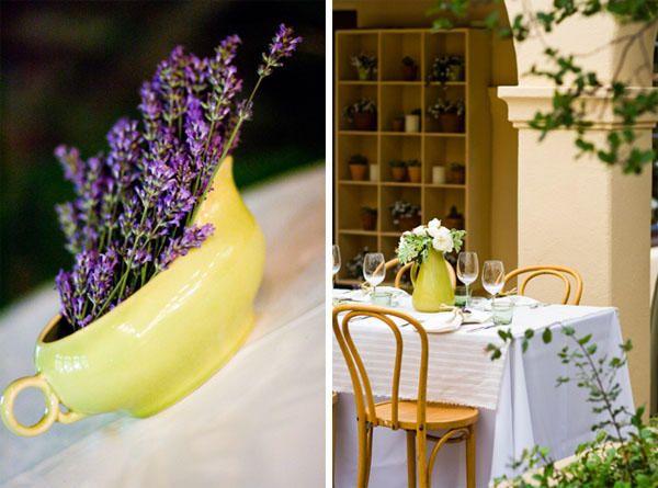 LOVE IT!! purple flowers, yellow-wedding-vase/gravy boat?