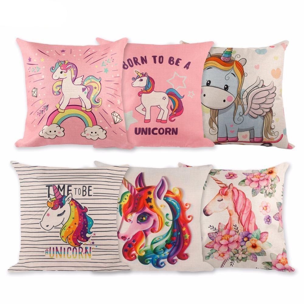 Unicorn pillow case cotton linen cushion cover accessories unicorn