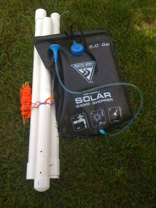 9 Foot Tall Stand Out Of Pvc Pipe It Actually Works Great Fits Most Any Solar Shower Too