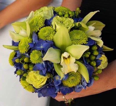 cobalt blue and lime green / green wedding flowers centerpiece ...