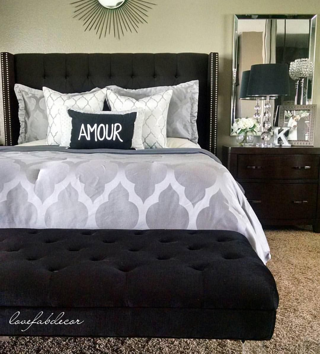 Home decor inspiration on instagram black and gray chic for Bedroom curtains and bedding