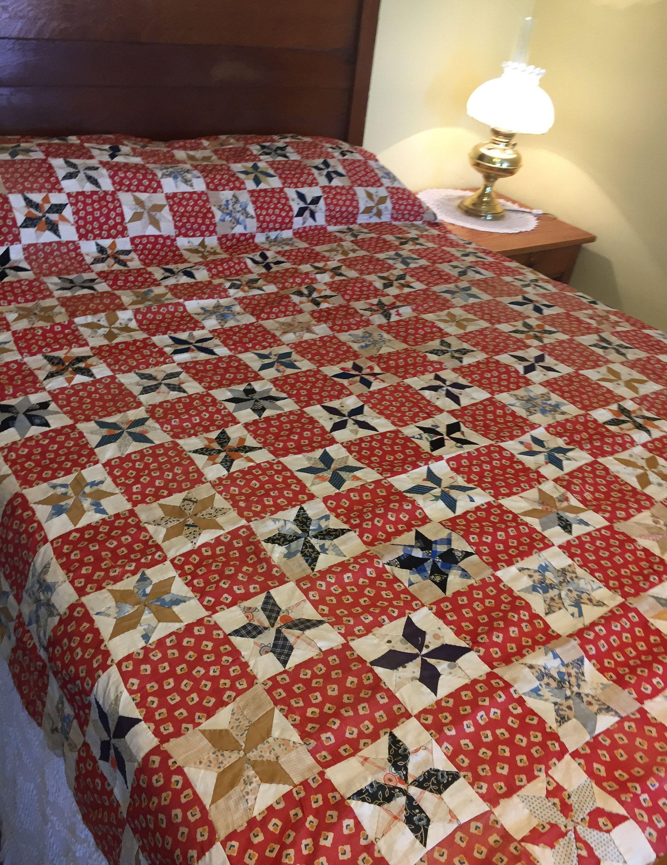 Handmade Quilt Top Vintage Red Blue Creamy White 8 Point Star