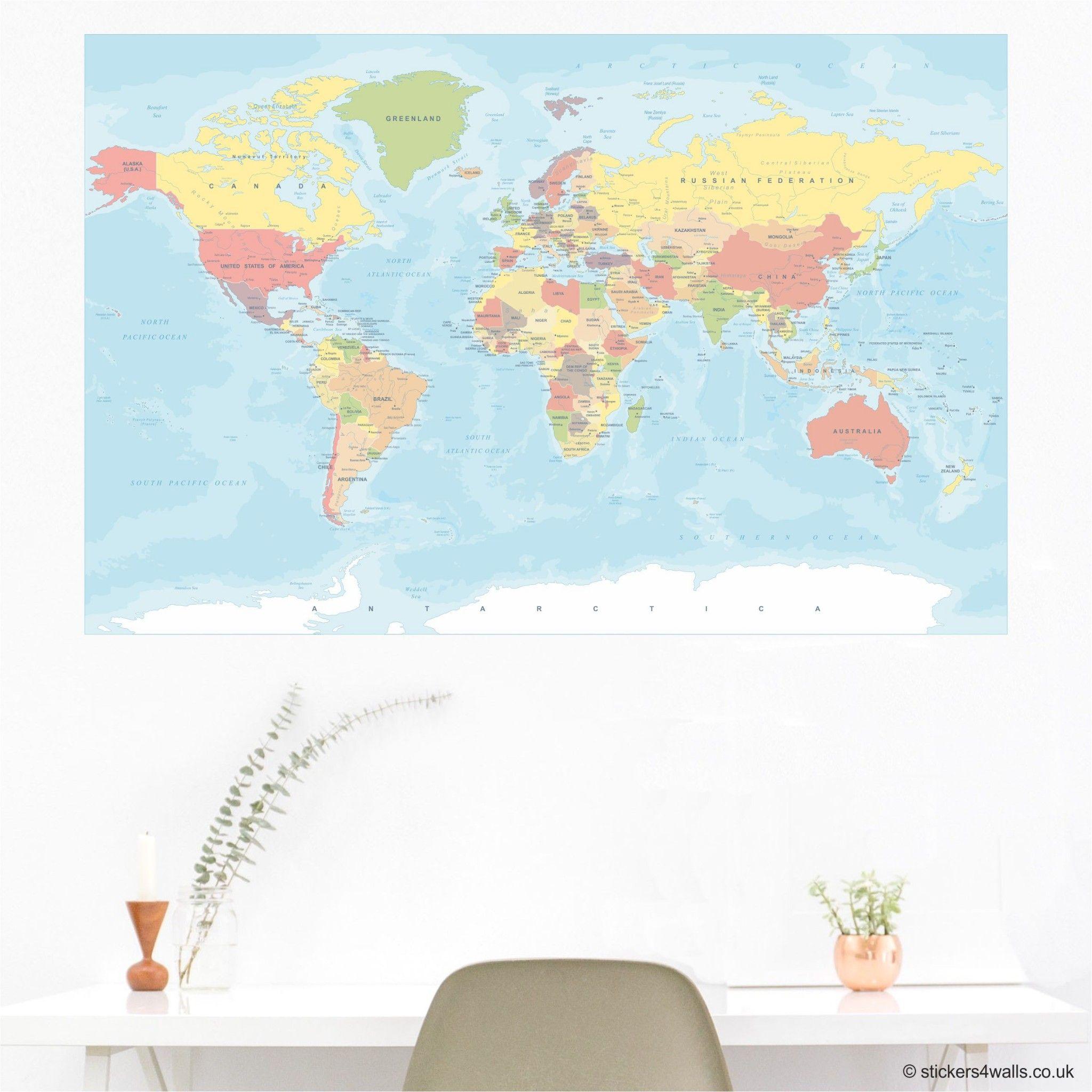 A High Quality Political World Map Wall Sticker Decal, Ideal
