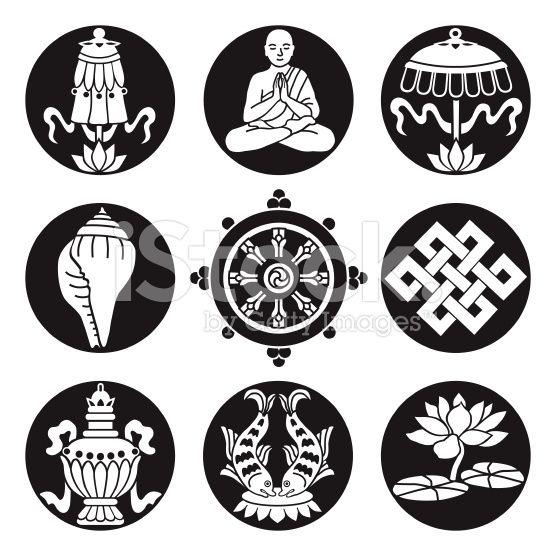 Black Buddhist Symbols Tattoo Flash Concept Pinterest Buddhist