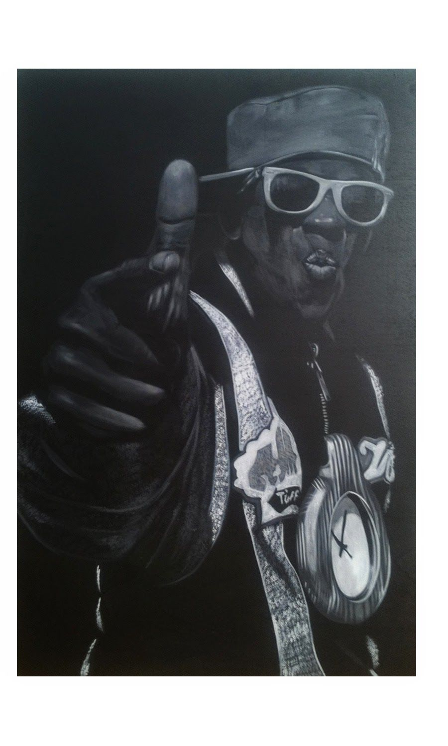 Flavor Flav. Acrylic on wood panel -John Perry
