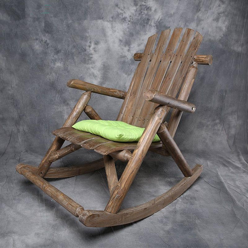 Modern Solid Wood Rocking Chair Antique Natural Outdoor Furniture Garden Chair Wooden Patio Garden Vintage Ro Wood Rocking Chair Rocking Armchair Rocking Chair