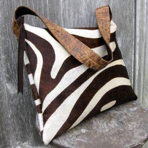 Hair On Zebra Cowhide Purse in Dark Brown and Ivory Print