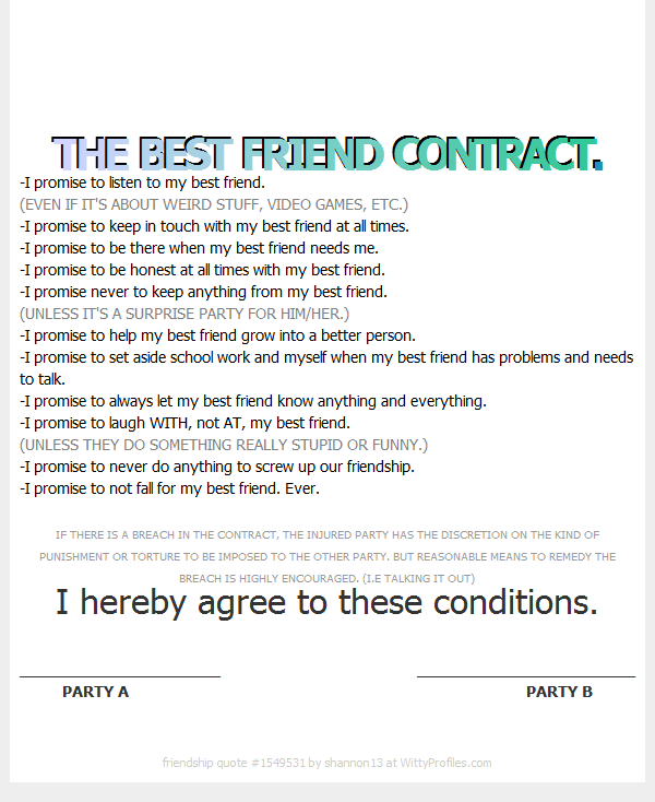 The best friend contract my best friend 3 pinterest bff the best friend contract altavistaventures Images