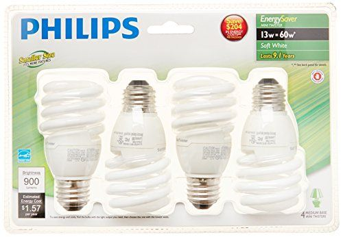 Philips 417071 Energy Saver Compact Fluorescent 13 Watt T2 Soft White Twister Household Light Bulb 4 Pack Energy Saver Light Bulbs Energy Saver Energy Saving Light Bulbs