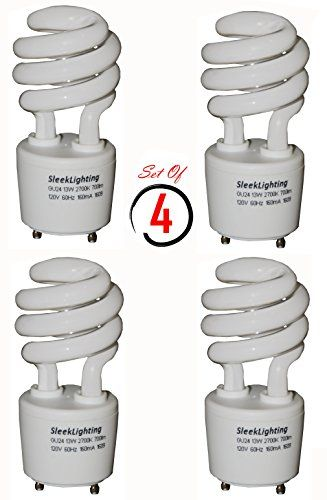 Sleeklighting 13watt T2 Spiral Cfl Light Bulb 2700k 700lm Gu24 Base 4pack Cfl Bulbs Bulb Fluorescent Light Bulb