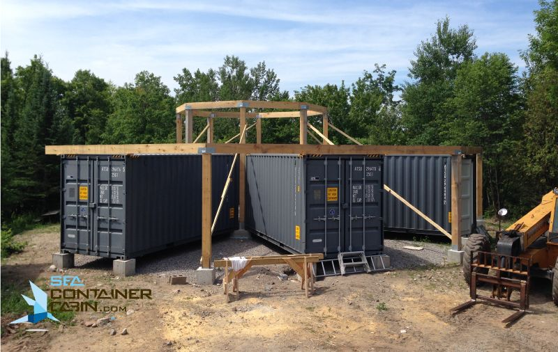 Shipping Container Cabin External Framing Of Great Room Workbench Shipping Container Container Cabin Container House