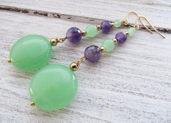 Green Jade Earrings Purple Amethyst Uk By Sofiasbijoux