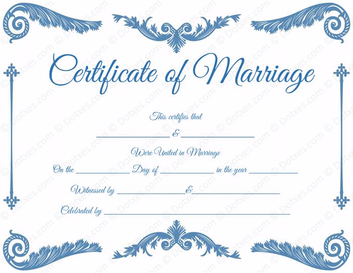Printable Royal Corner Marriage Certificate Template  Printable