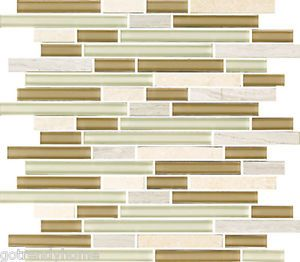 Sample beige White linear glass mosaic tile