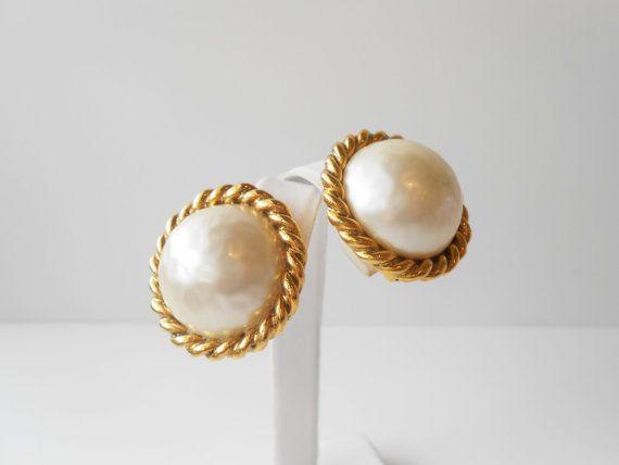 Pearl Earrings Vintage Carolee Faux By Littlebitsofglamour 38 00
