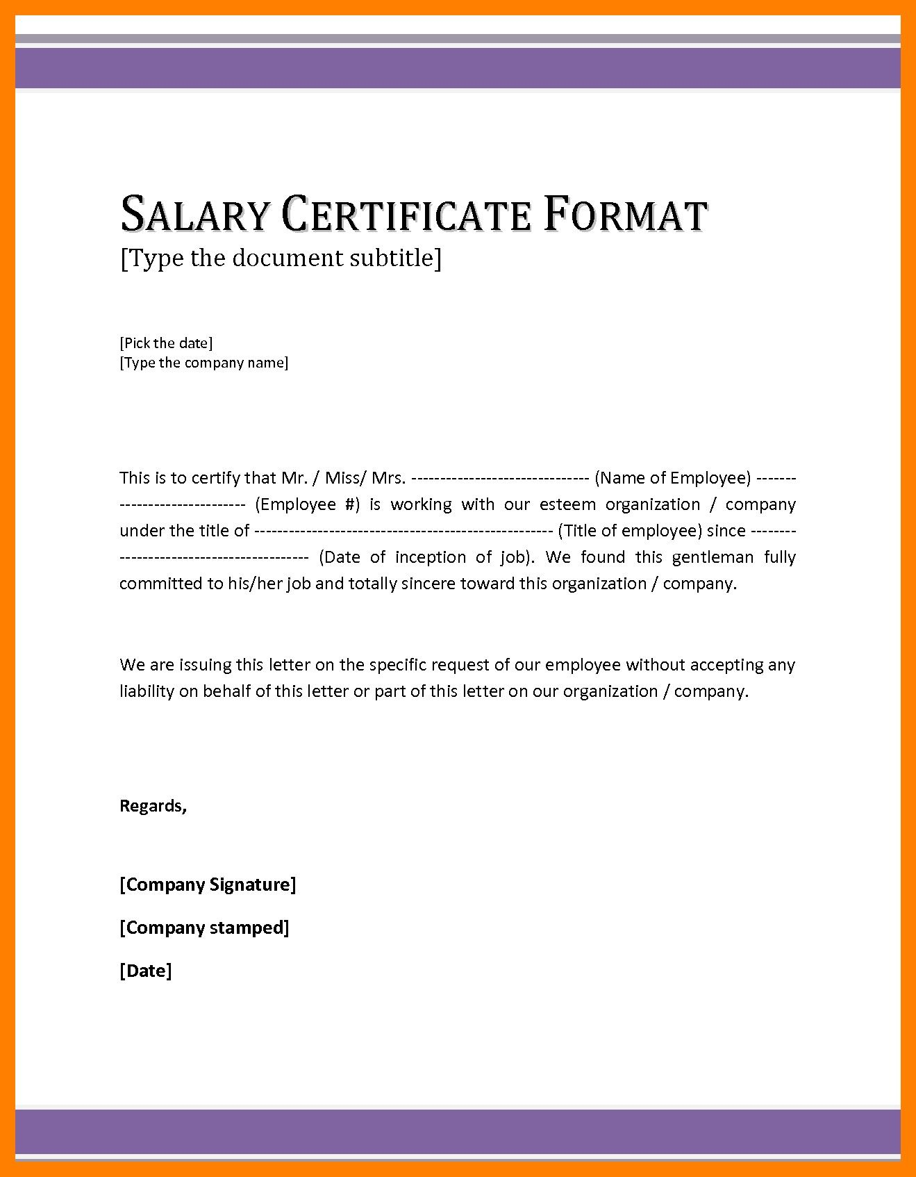 salary certificate letter Google Search Certificate